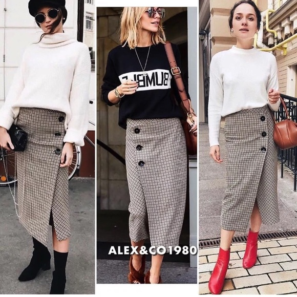 cd4a7ae176dc Zara Skirts | Check Herringbone Wrap Midi Skirt | Poshmark